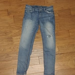 Maurice's 3/4 ankle length distressed jeans